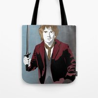 the hobbit Tote Bags featuring Hobbit by Digital Sketch