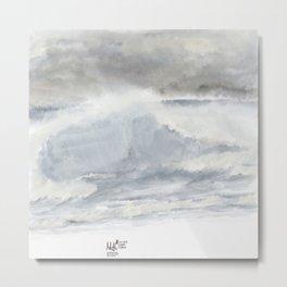 Stormy Silver Sea Metal Print