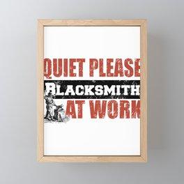 Quiet Please Blacksmith At Work Framed Mini Art Print