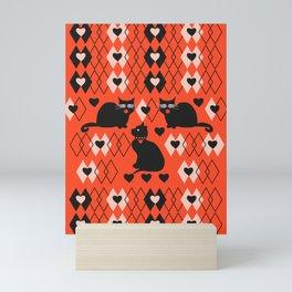 Cats and hearts with diamonds Mini Art Print