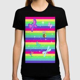 Butterflies & Rainbow Stripes T-shirt