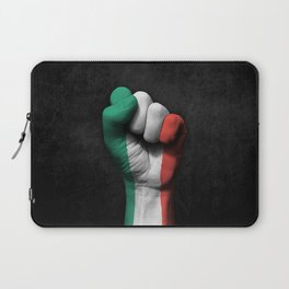 Italian Flag on a Raised Clenched Fist Laptop Sleeve