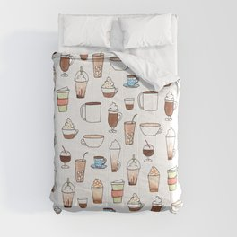 cute coffee pattern on white Comforters