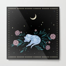 Cat Dreaming of the Moon Metal Print