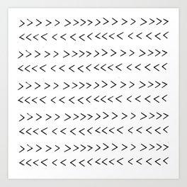linocut Mudcloth grey and white minimal modern chevron arrows pattern gifts dorm college decor Art Print