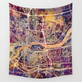 Quad Cities Street Map Wall Tapestry