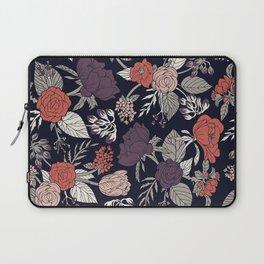 Purple, Gray, Navy Blue & Coral Floral/Botanical Pattern Laptop Sleeve