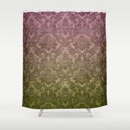 Vintage Pastel Pink and Green Damask Pattern Shower Curtain
