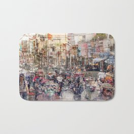 Saigon, abstract city life and traffic concept -   street photography  double exposure Bath Mat