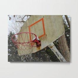 Retro Basketball Hoop Metal Print