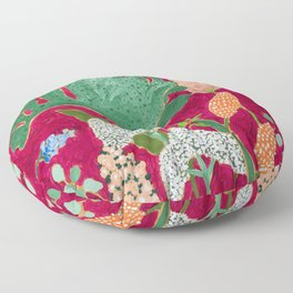 Magenta Jungle Painting, Monstera, Birds of Paradise Floral on Pink Jewel Tone Floor Pillow