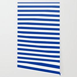 Dark Princess Blue and White Wide Horizontal Cabana Tent Stripe Wallpaper