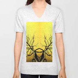 Yellow Tree Forest Antlers Unisex V-Neck