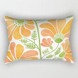 Happy California Poppies / hand drawn flowers Rectangular Pillow