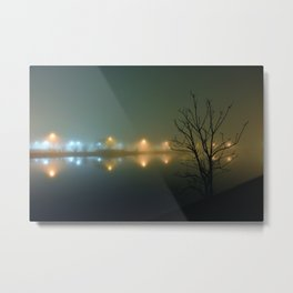 Wesley Lake at Night in Fog Metal Print