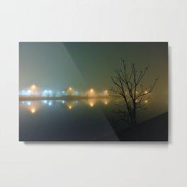 Wesley Lake at Night in Fog Metal Print