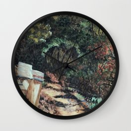Lighted Path Through Green - Oil on canvas painting Wall Clock