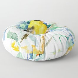 American Goldfinch, yellow sage green birds and flowers Floor Pillow
