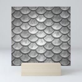Abstract modern metallic silver mermaid pattern Mini Art Print