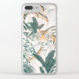 Tiger Jungle Silver Colour Clear iPhone Case