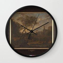 Jan van Huysum - Italiaans Landschap Wall Clock