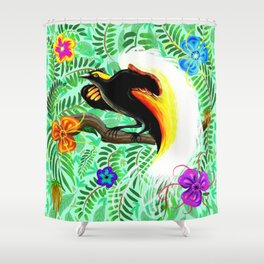 Paradise Bird Fire Feathers Shower Curtain