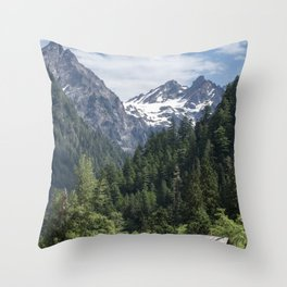 The Enchanted Valley Chalet Throw Pillow