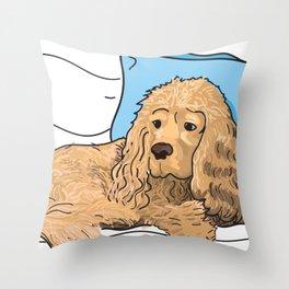 Cute Tan Cocker Spaniel Illustration Throw Pillow