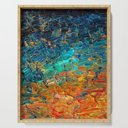 ETERNAL TIDE 2 Rainbow Ombre Ocean Waves Abstract Acrylic Painting Summer Colorful Beach Blue Orange Serving Tray