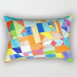 Playful Colorful Architectural Pattern Rectangular Pillow