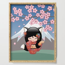 Japanese Kitsune Kokeshi Doll Serving Tray