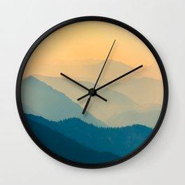 Beautiful Sunset Mountain Landscape Twilight Pastel Hues Blue Teal Yellow Orange Wall Clock