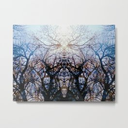 Stained Glass Woodlands Metal Print