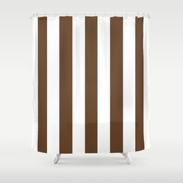 Van Dyke brown - solid color - white vertical lines pattern Shower Curtain