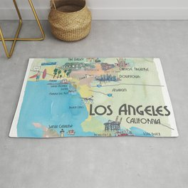 Greater Los Angeles Fine Art Print Retro Vintage Map with Touristic Highlights in colorful retro pri Rug