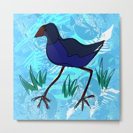 New Zealand Pukeko in blue Metal Print