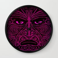 maori Wall Clocks featuring Maori style 02 by Alexis Bacci Leveille