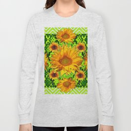Modern Lime Green Deco Style Shasta Daisies Art Long Sleeve T-shirt