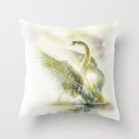 swan Throw Pillows featuring Swan by beart24