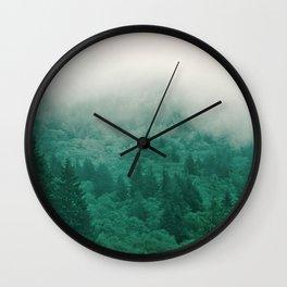 Misty Moody Mountain Forest Fog Northwest Oregon Washington Wall Clock