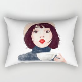 French woman with coffee Rectangular Pillow