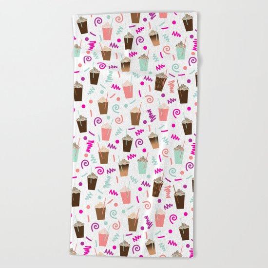 Coffee party retro swirl zig zag symbols 80s rad neon hot pink iced coffees latte milkshake food Beach Towel