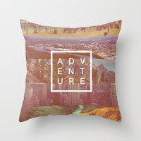 adventure Throw Pillows featuring Adventure by Zeke Tucker
