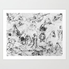 Hieronymus Bosch studies of people Art Print