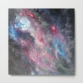 Space and the Moon Metal Print