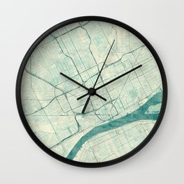 Detroit Map Blue Vintage Wall Clock