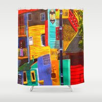 buildings Shower Curtains featuring SkyRainbow Buildings by SkyJay