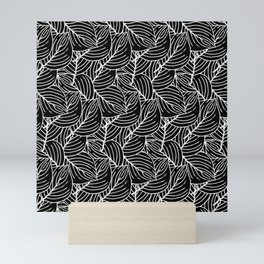 Simple Leaves Pattern - White on Black - Mix & Match with Simplicity of life Mini Art Print