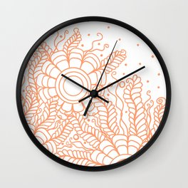 Doodle Art Three Flowers Vines – White and Orange Wall Clock