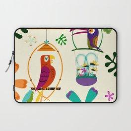 Vintage Modern Tiki Birds Laptop Sleeve